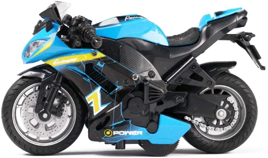 Gilumza Pull Back Vehicles Race Motorcycle Toys, Friction Powered Die Cast Racing Motorcycles with Music Lighting, Pullback Toy Gift for Christmas Brithday (Blue)