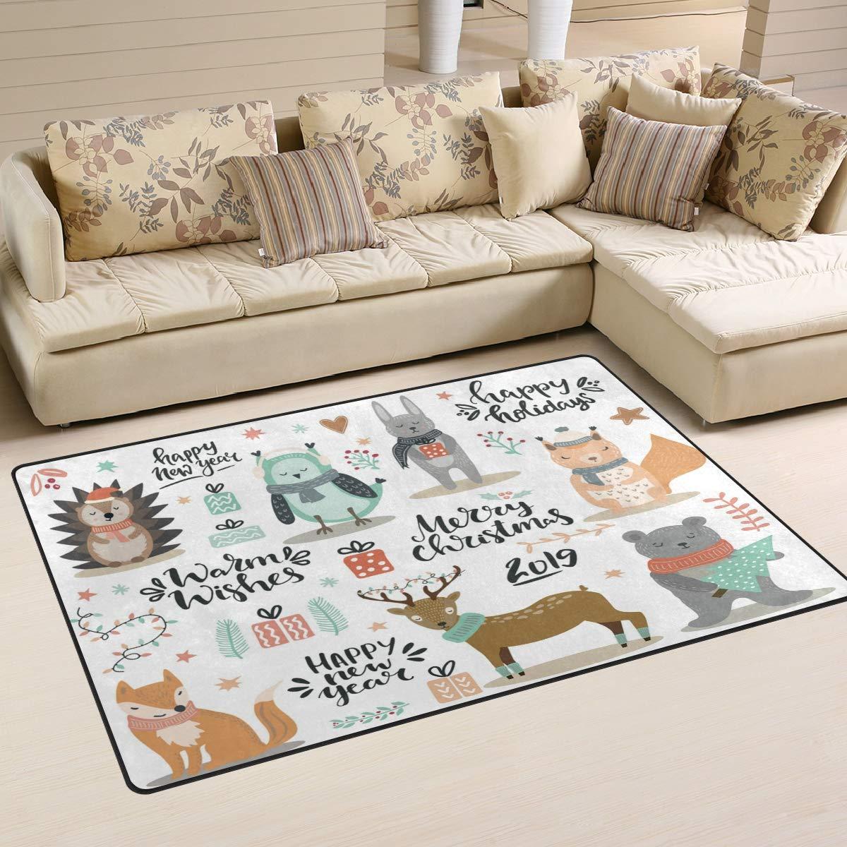 ALAZA Home Decor Set of Winter Woodland Animals Christmas?Fox Deer Owl Rabbit Bear Area Rug Carpet, Rugs Floor Carpet Mat Living Room Carpet for Girl's Room Home Indoor Decor 3'x5'