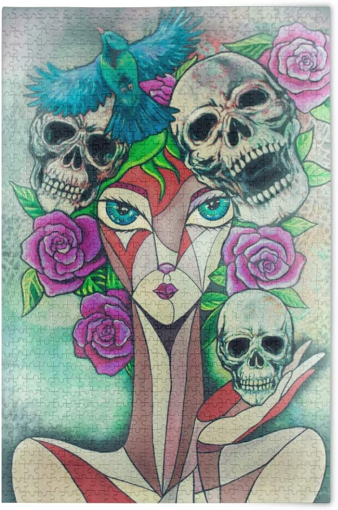 Jigsaw Puzzles 1000 Pieces for Adults Teens Skull Girl Rose Gothic Game Artwork Toy Gifts 2021718