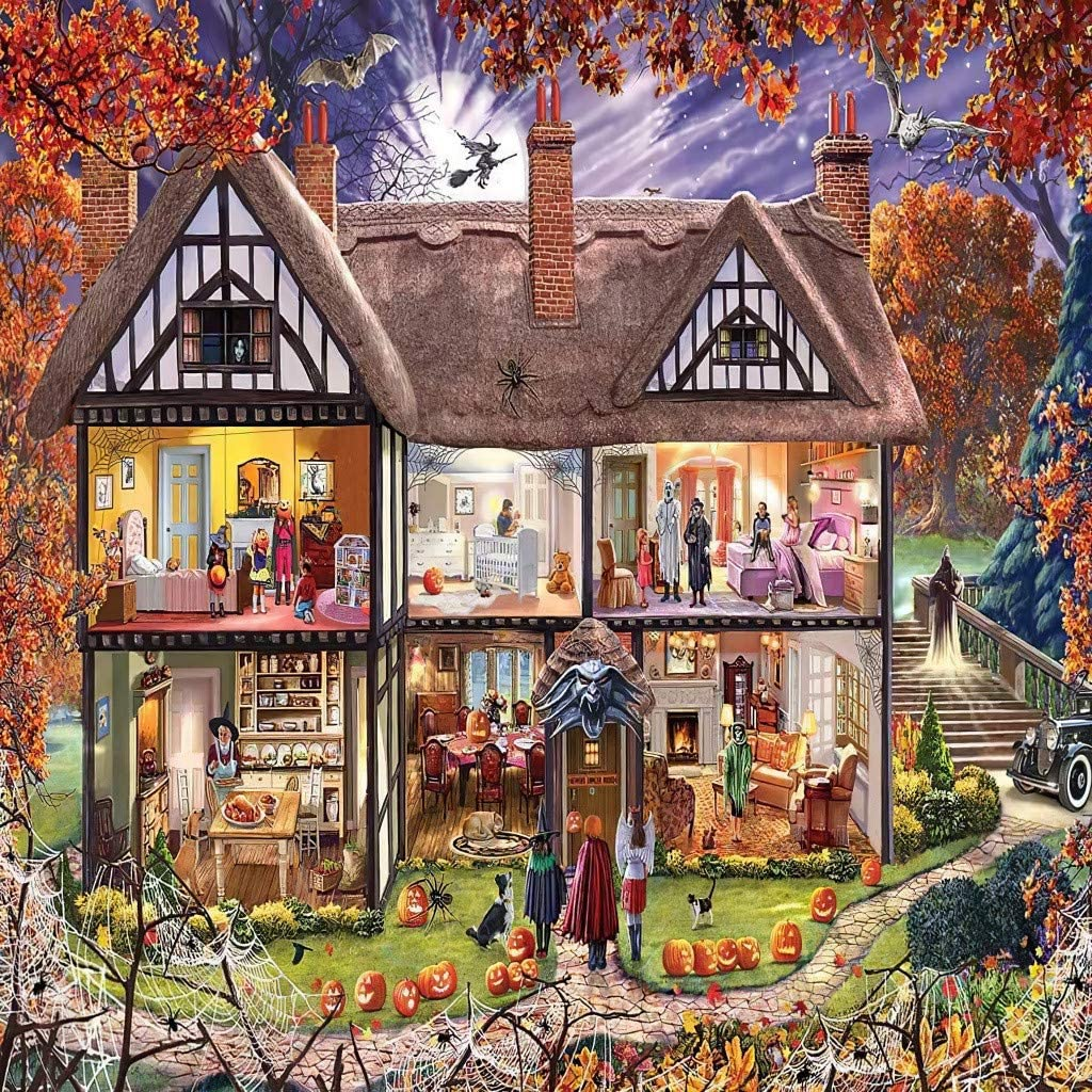 Puzzles for Adults 1000 Piece Halloween Family Decorations Pattern Toy DIY Wall Art Home Decor Christmas Jigsaw Puzzles Suitable for Teenagers and Adults (B)