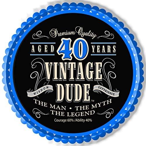 Vintage Dude 40th - Edible Cake Topper - 10