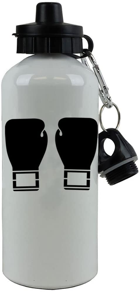 Personalized Custom Boxing Gloves Aluminum White Finish 20 Ounce 600ML Sport Water Bottle Customizable