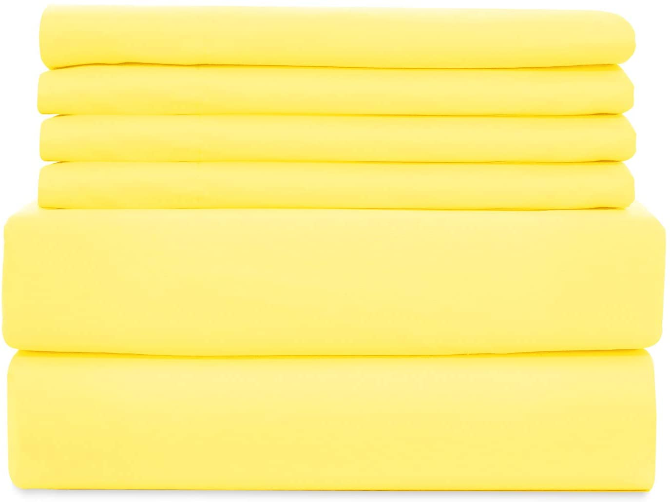 WAVVA Soft Bedding 6 Piece Bed Sheets Set - 1800 Premium Quality Deep Pocket, Wrinkle & Fade Resistant - Vibrant Yellow, California King