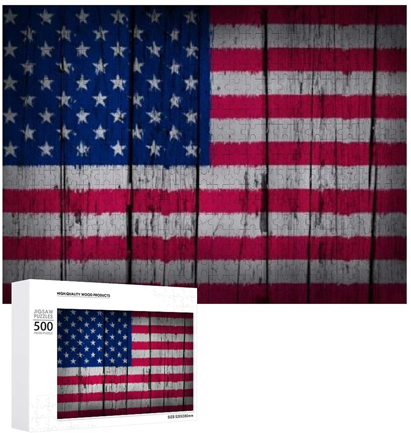United States of America Grunge Art Background with USA Flag Painted on Wooden Aged Wall Wooden Puzzle 500 Pieces Jigsaw Puzzle for Adults Kids Large Puzzle Game Toys Gift Christmas Holiday Present