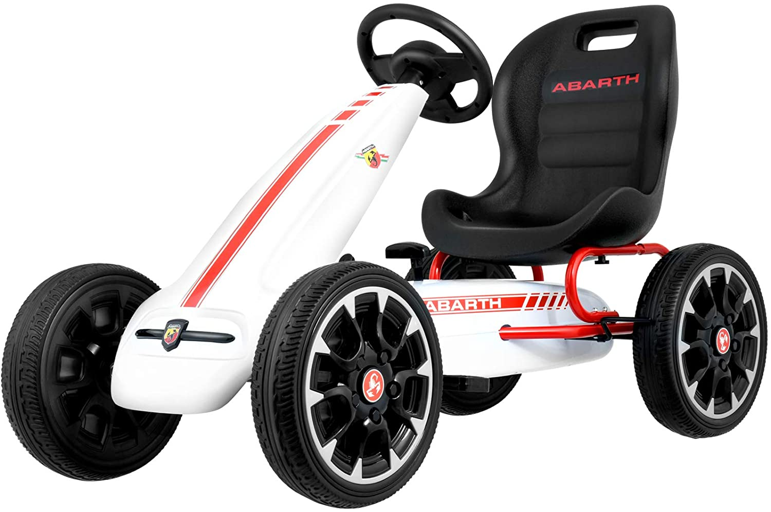 Uenjoy Kart On Foot Ride On Car,Large Riding Toys for Boys and Girls,Outdoor Toys,Aged 3-8,EVA Tires,Brakes and Gears,Gifts for Children,Sports Educational Fitness Toy Stroller-White
