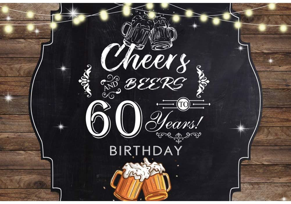 Haoyiyi 7x5ft Happy 60th Birthday Backdrop Cheers and Beers Rustic Glitter Wood Wooden Board Floor Wall Background Banner Rustic Glitter Photography Boy 1 st Baby Shower Photo Decorations