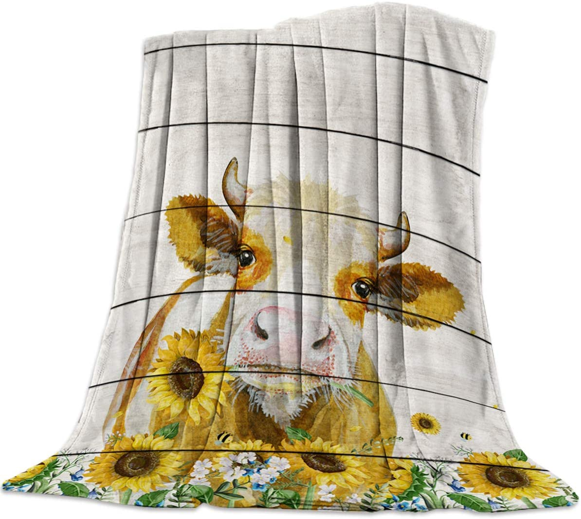 Flannel Fleece Luxury Blanket All Season Ultra Soft Lightweight Thermal Throw Blankets, Warm Fuzzy Plush Nap Blanket for Bed Couch Sofa, Western Country Farmhouse Cow with Sunflower 40x50 Inch