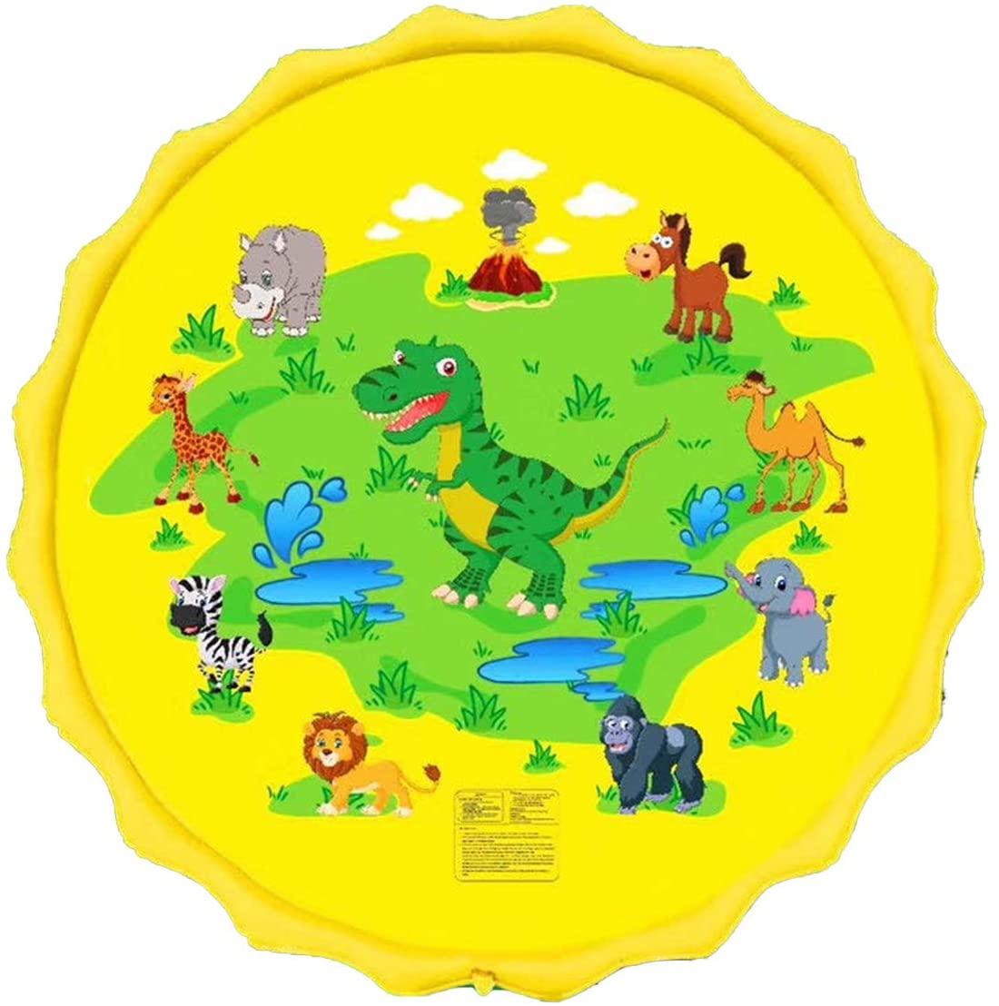 Great-hyc Kid Toddler Cartoon Dinosaur Pattern Inflatable Sprinkler Outdoor Water Play Pad