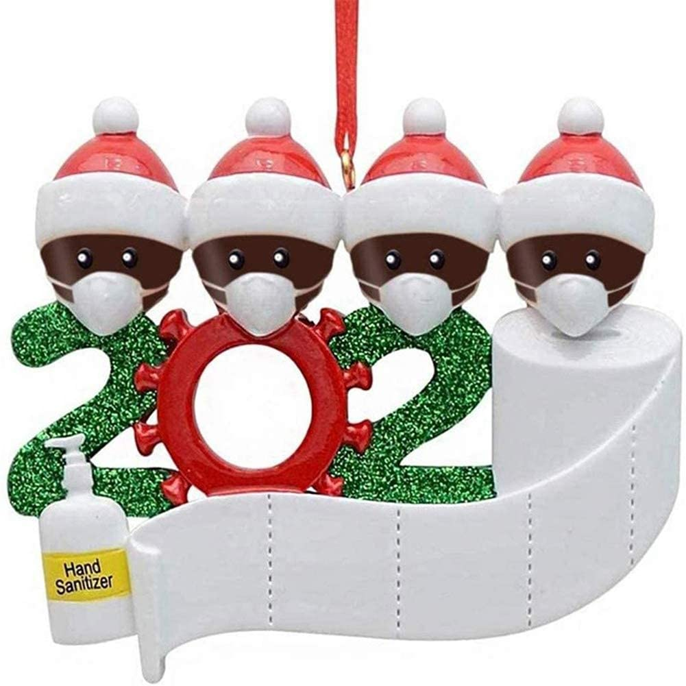 Girliber 2020 Christmas Ornament Souvenir – 2-5 Family Members Name Christmas Tree Decorations with Mask Toilet Paper, Customized Gift for Family