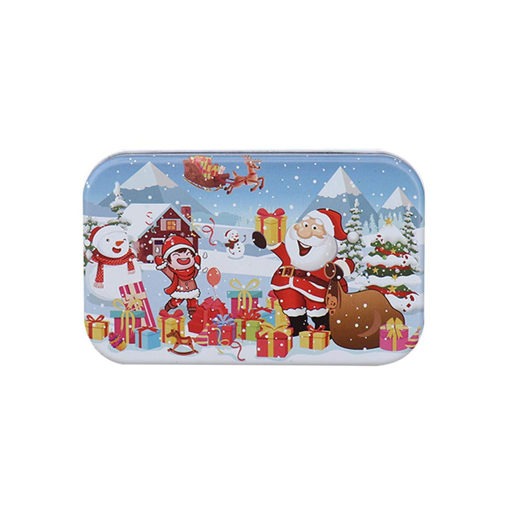 Christmas DIY Thicken Jigsaw Puzzles 60 Pieces for Adults Childrens Puzzle Toy, Tin Box Packaging Jigsaw Puzzle, DIY Collectibles Modern Home Decoration (D)