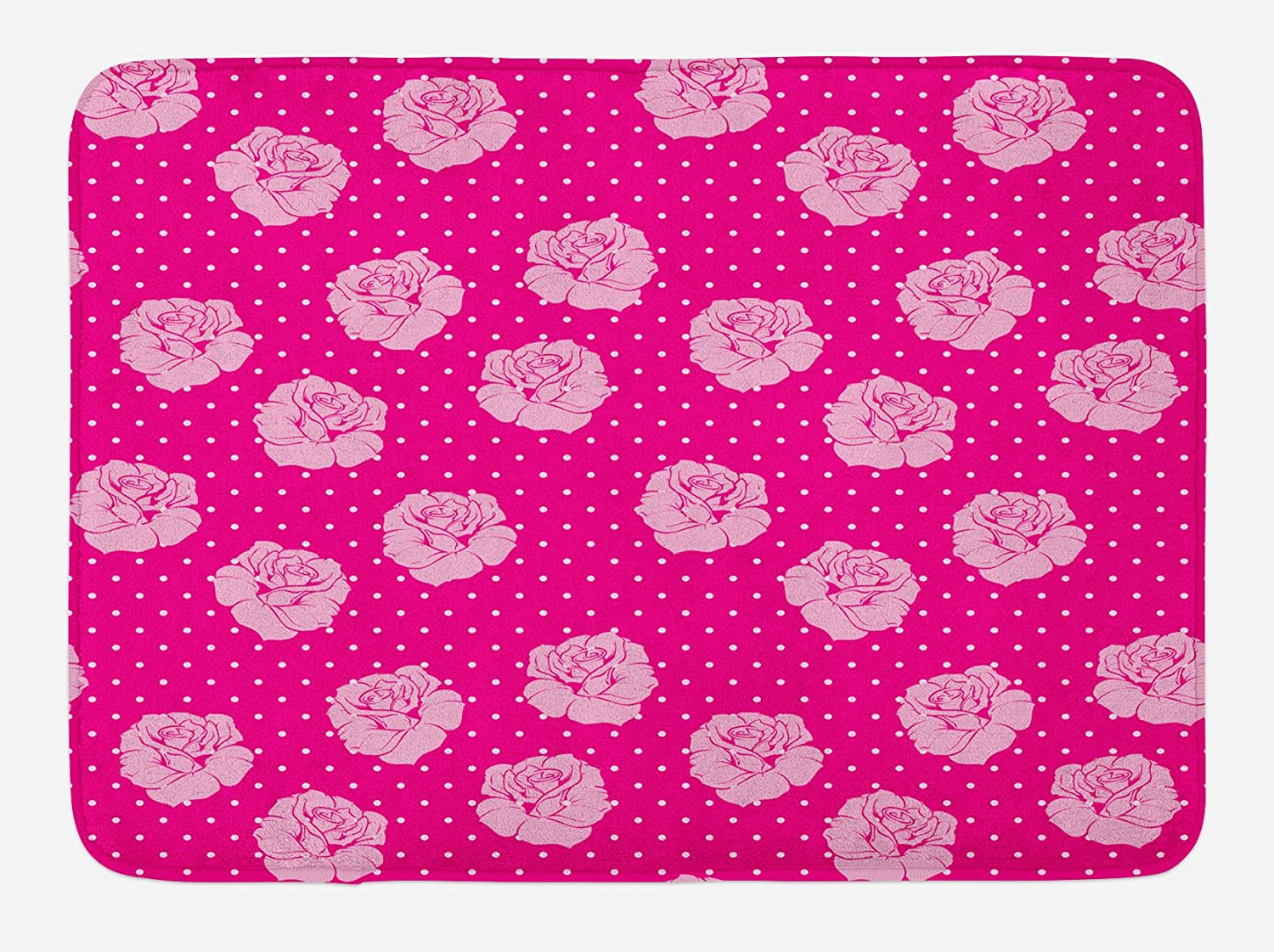 Ambesonne Hot Pink Bath Mat, Vintage Pale Pink Roses on White Dotted Hot Pink Background Love, Plush Bathroom Decor Mat with Non Slip Backing, 29.5