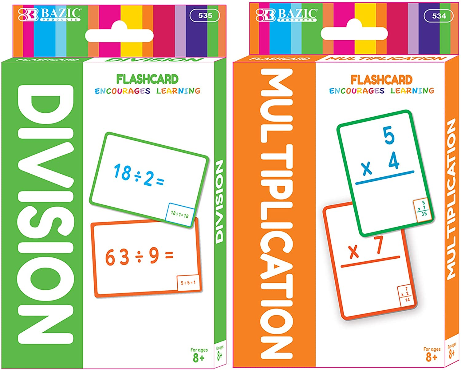 BAZIC Multiplication & Division Flash Cards, Number Math Calculation Card Game Education Training Learning Practice Smart, Great for Kids Activities at Home School Classroom (36/Pack), Set of 2-Pack