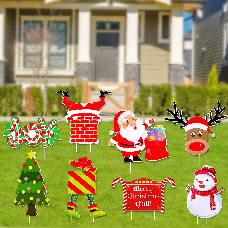Konsait 8 Pack Christmas Yard Signs Stakes Decorations, Christmas Yard Signs with Stakes, Xmas Outdoor Yard Sign, Xmas Holiday Winter Wonderland Ornaments Yard Sign, Outdoor Lawn Yard Christmas Decorations