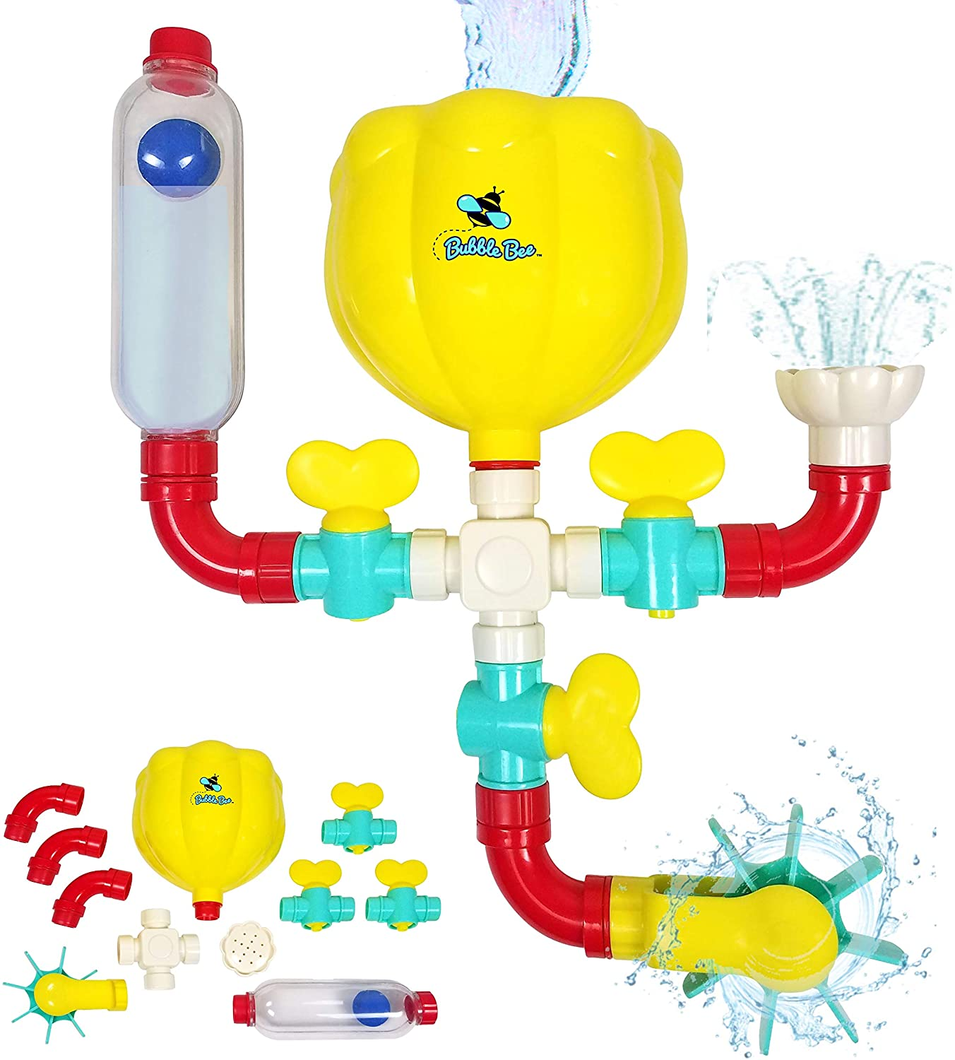 BubbleBee Bath Toys - 11 Piece Bath Toy Set, STEM Toys with Pipes N Valves, Shower, Water Wheel, Ball and Tube - Bathtub Toys for 3 Year Old 4 5 6 7 8 Mold Free Bath Toys, Montessori Toys for Toddlers