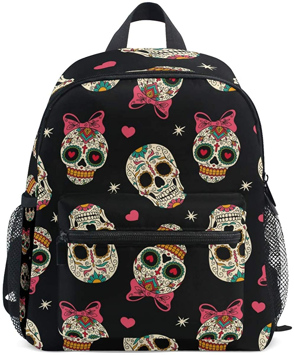 Upgraded Backpack for School Teenagers Girls Boys Sugar Skull Travel Bag with Chest Buckle and Whistle(b)