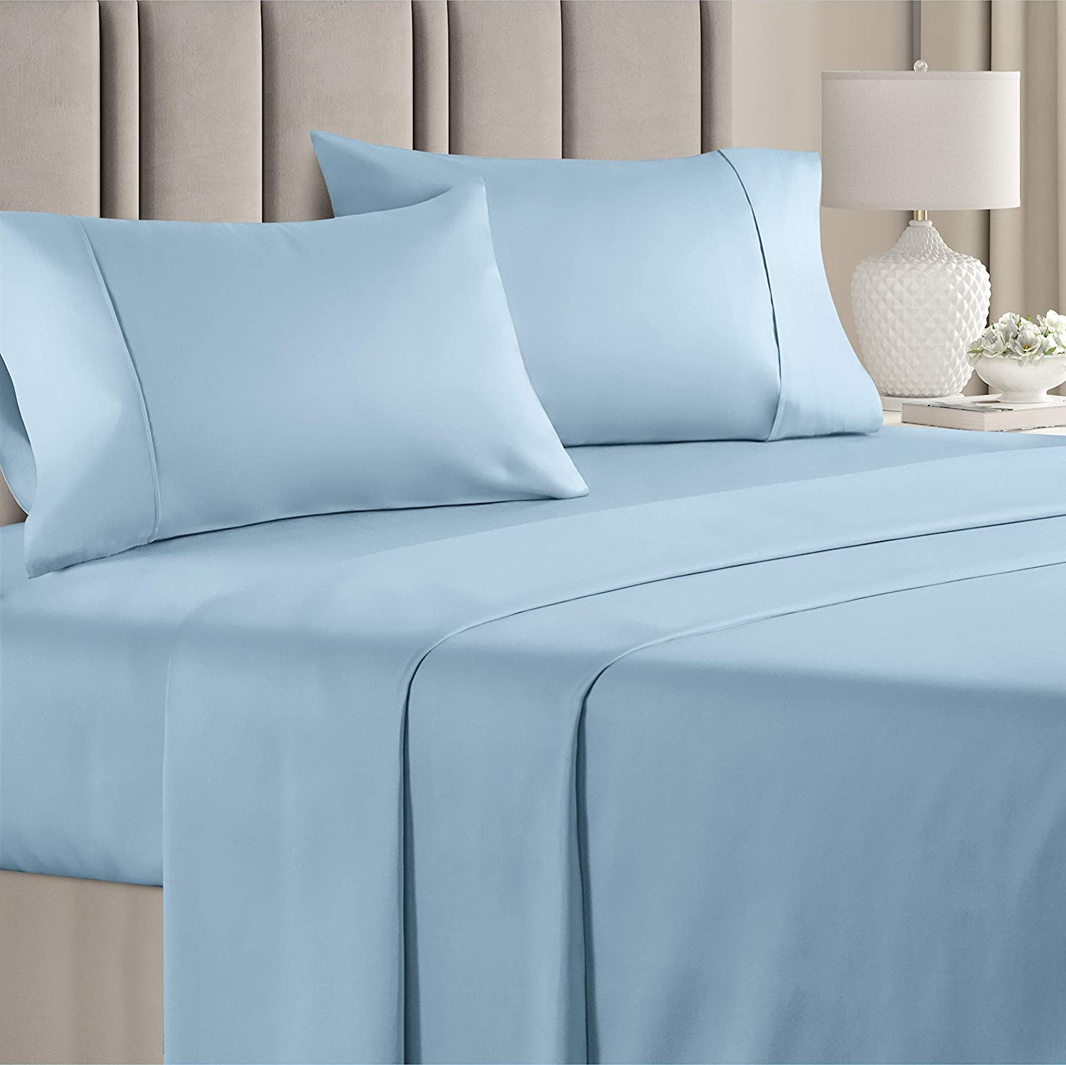 100% Cotton Cal King Sheets Blue (4pc) Silky Smooth, Cooling 400 Thread Count Long Staple Combed Cotton Cal King Sheet Set – 400TC High Thread Count Cal King Sheets Cal King Bed Sheets Cotton