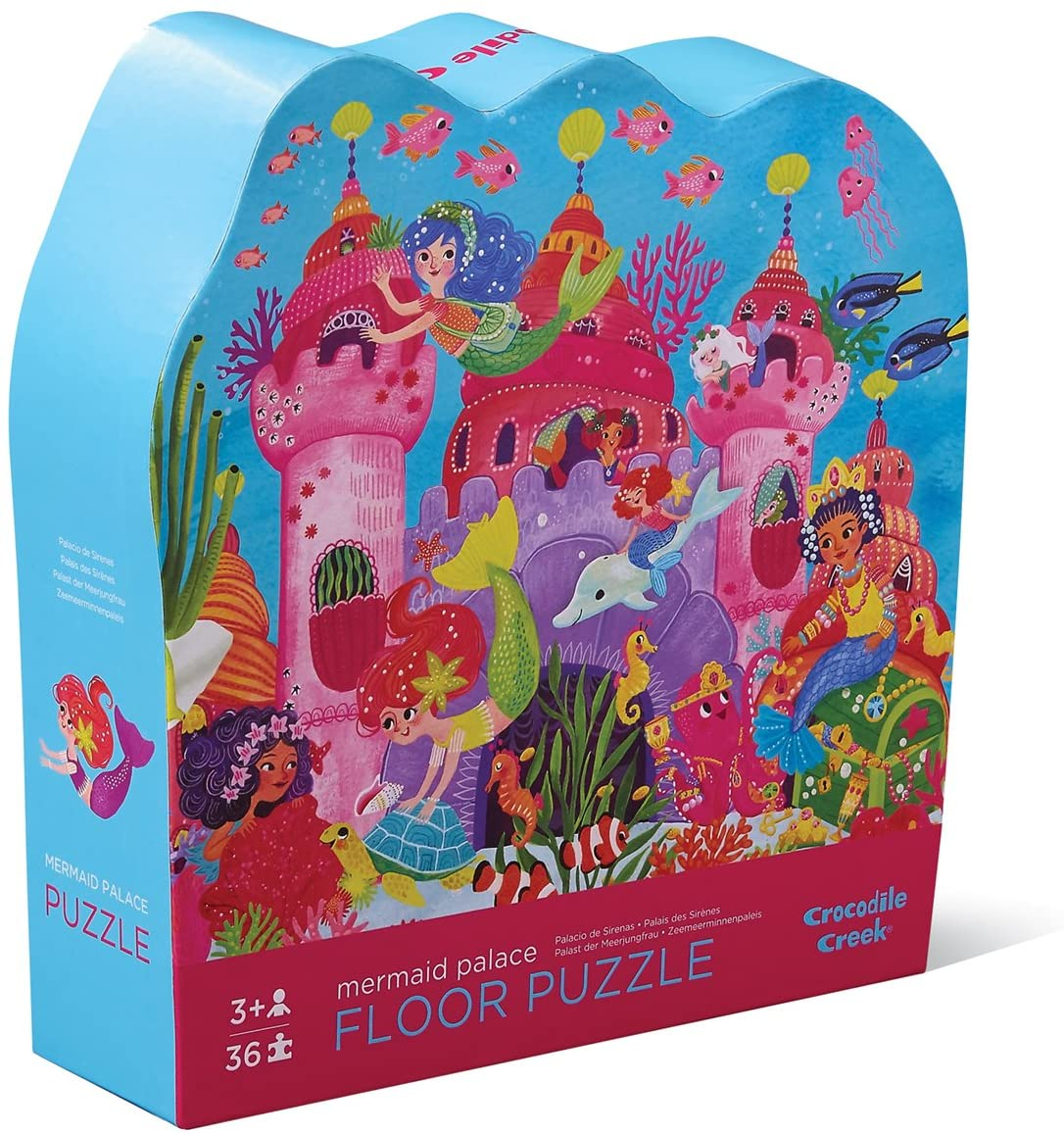 Crocodile Creek - Mermaid Palace - 36 Piece Jigsaw Floor Puzzle with Heavy-Duty Box for Storage, Large 20