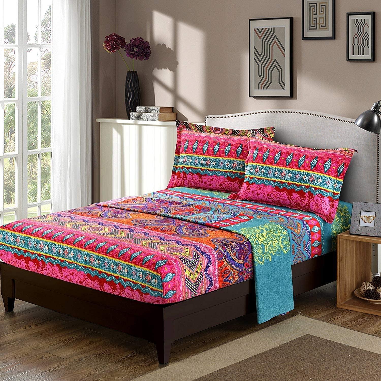 Omelas Bohemian Tribal Sheet Set King Size Boho Retro Floral Printed King Bed Sheets Soft Microfiber Bedding, 16
