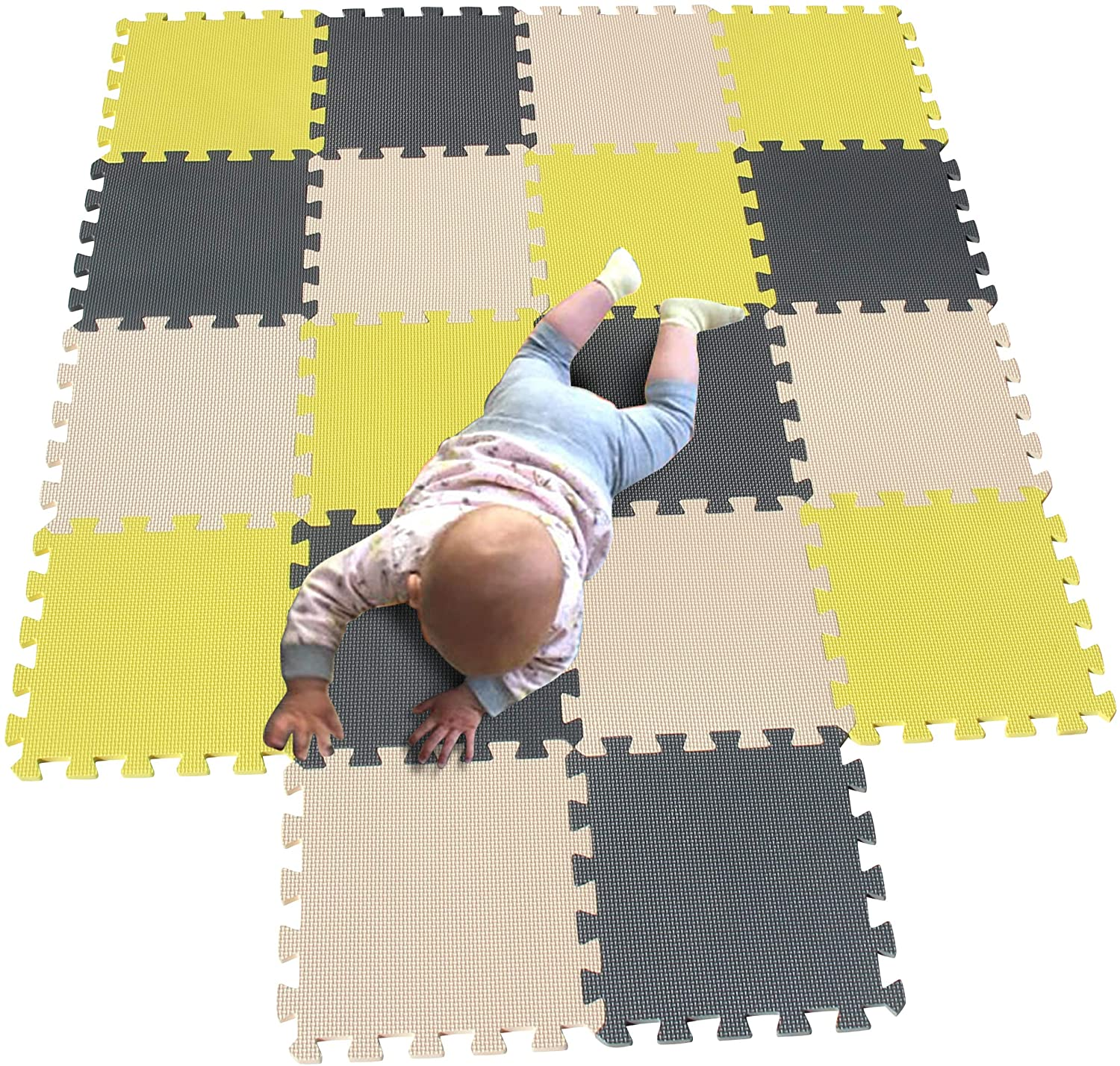 MQIAOHAM Children Puzzle mat Play mat Squares Play mat Tiles Baby mats for Floor Puzzle mat Soft Play mats Girl playmat Carpet Interlocking Foam Floor mats for Baby Yellow Beige Grey 105110112