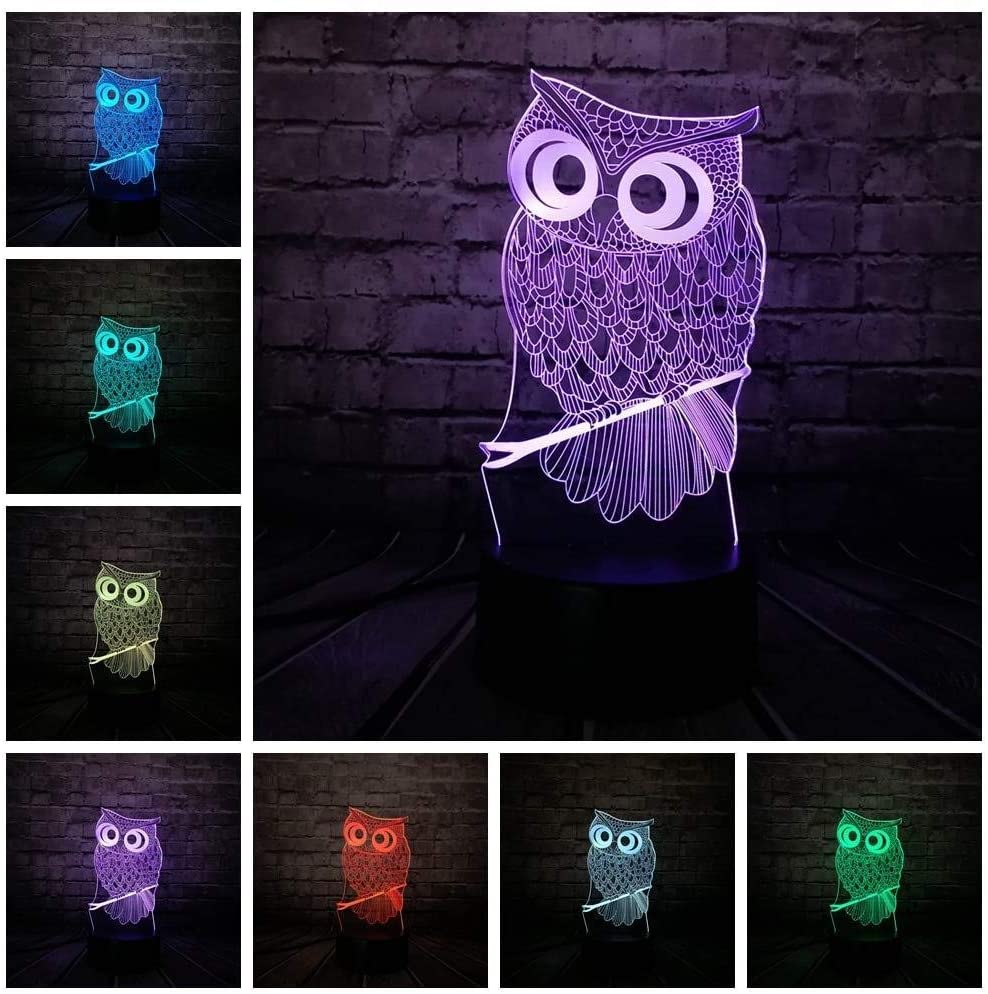 dferh 7 Color 3D Night Light Animal Owl 3D Night Light 7 Colors Change LED Desk Table Lamp Art Home Child Bedroom Sleeping Decor Holiday Party Gifts