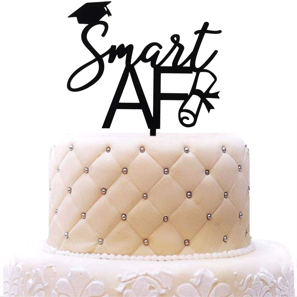 Smart AF Acrylic Cake Topper, Graduation Party Decorations, High School University Grad 2020 Cake Toppers, Black Mirror