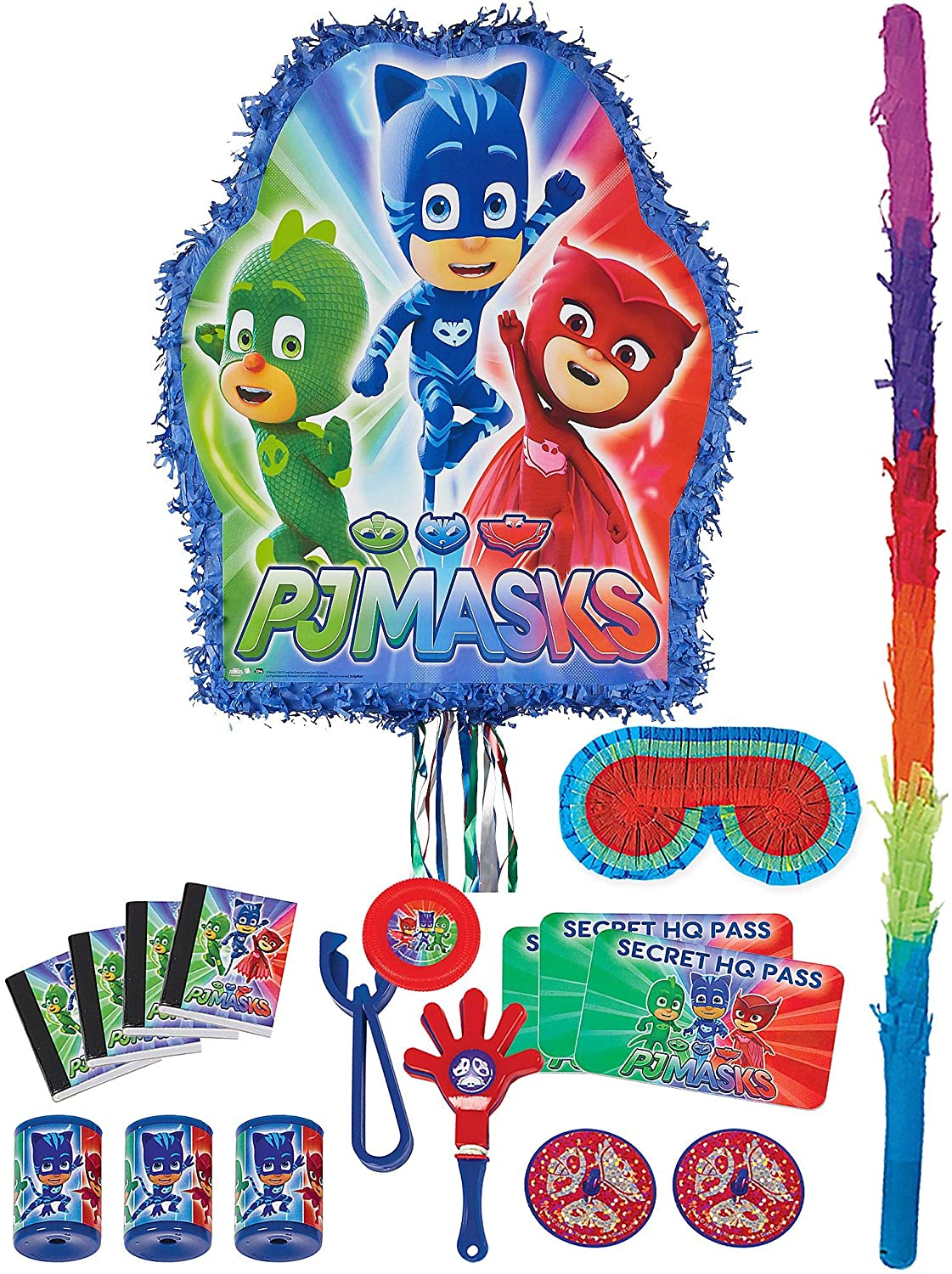 Party City PJ Masks Pull String Pinata Kit, Includes Bat, Blindfold and 48 Piece Favor Pack