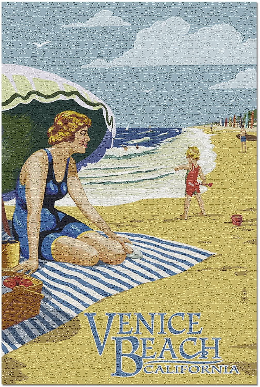Venice Beach, California - Woman on the Beach 43271 (19x27 Premium 1000 Piece Jigsaw Puzzle for Adults)