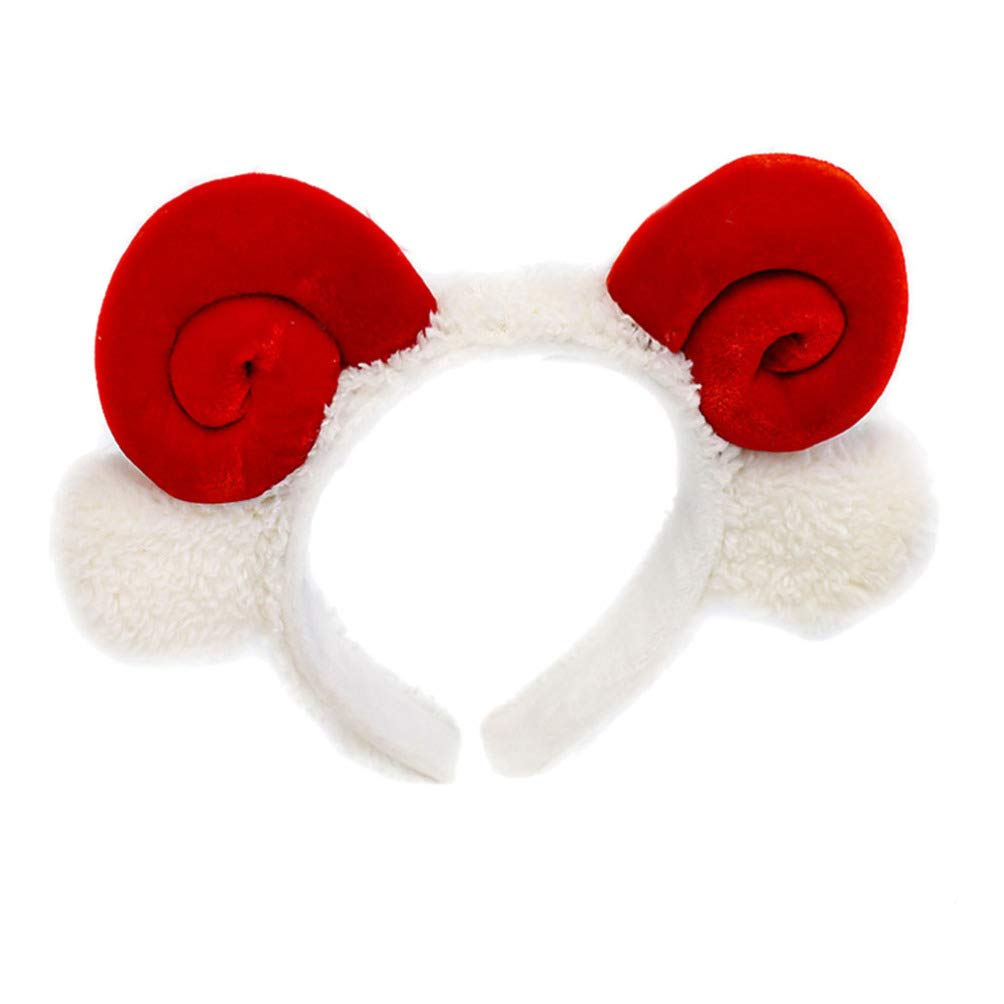 Amosfun Plush Animal Ears Headband Shofar Sheep Horn Hair Bands Hair Hoops Headwear For New Year Valentine Costumes Cosplay (Red)