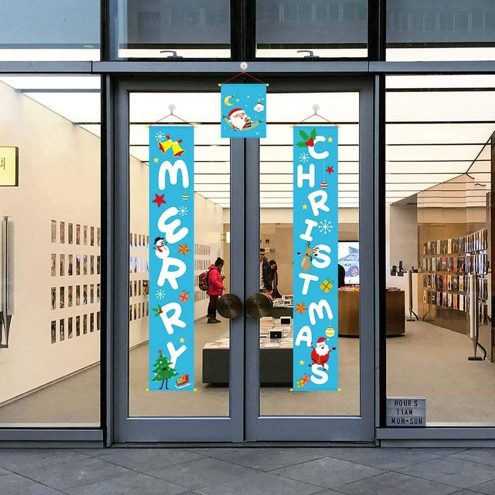 DAWEIF Merry Christmas Banner New Year Front Door Party Garland Wall Flag Hanging Decorations for Indoor Outdoor(Blue)