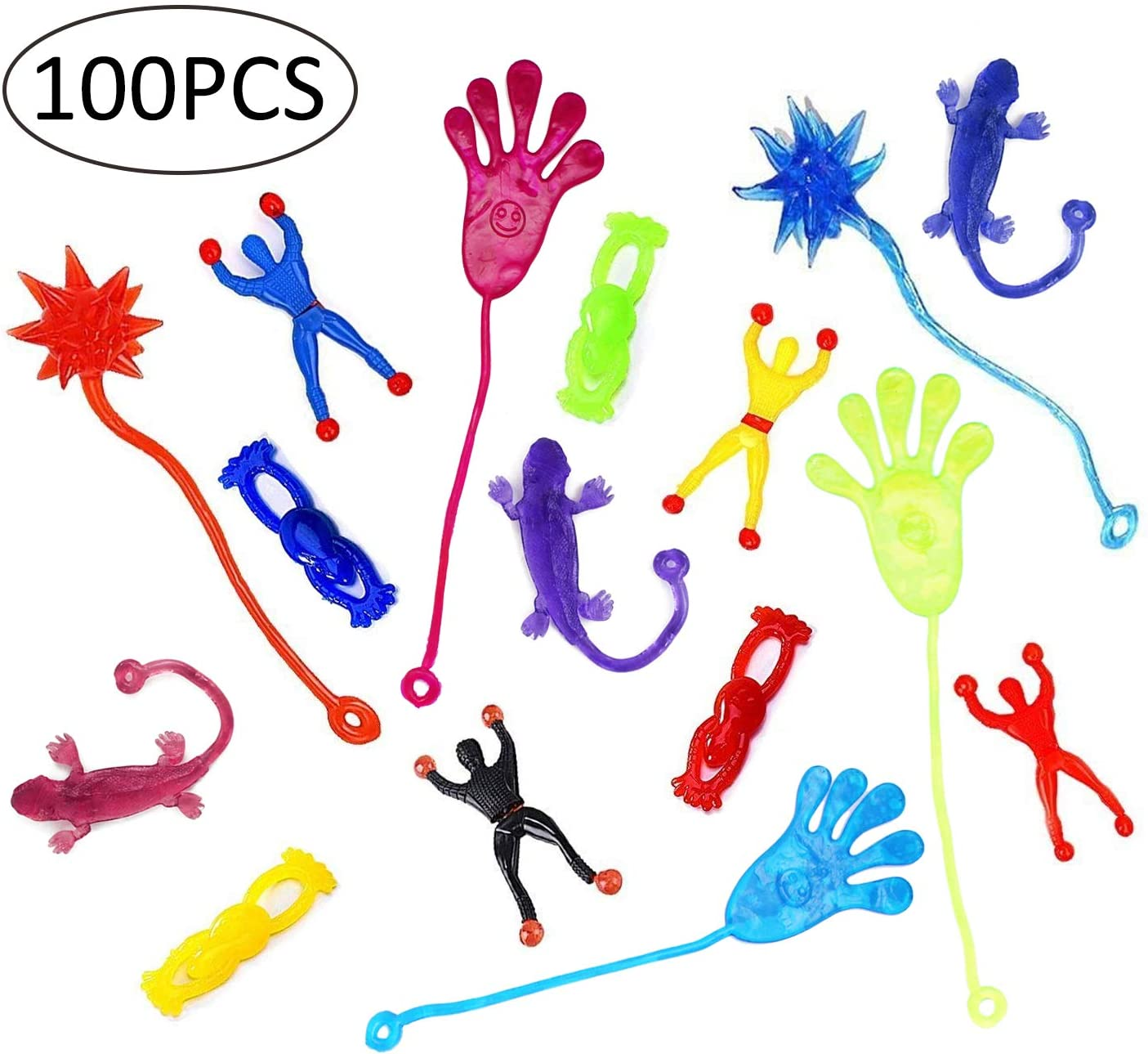 SKKSTATIONERY Bright Sticky Hands 100 Pcs, 5 Kinds, Party Favors, Christmas Halloween Gifts Goodies