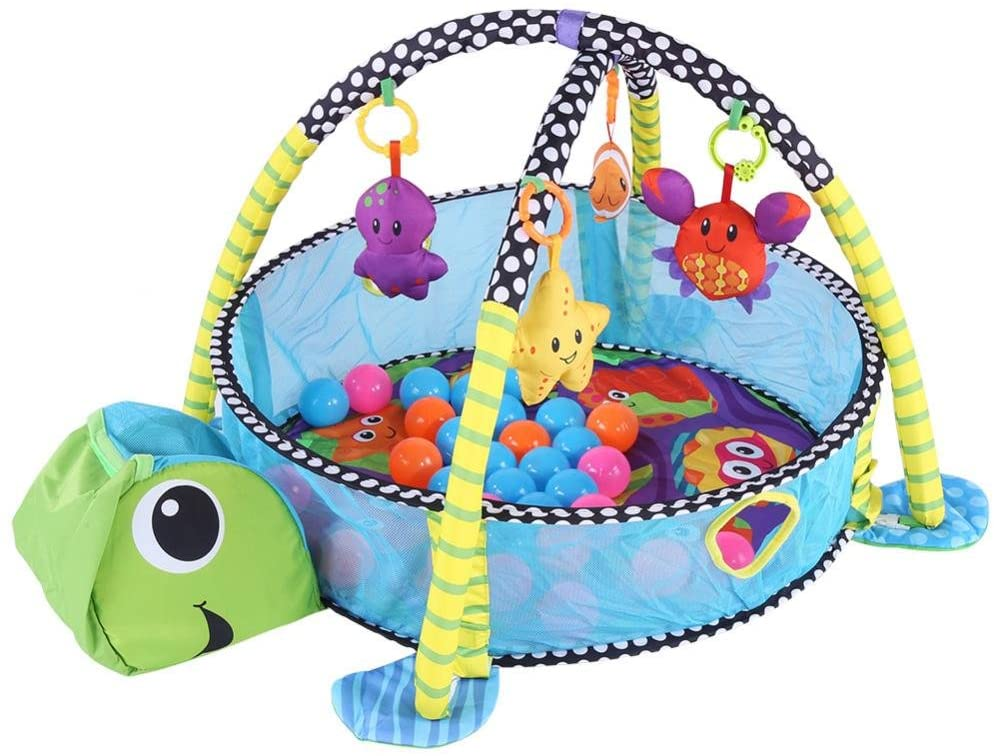 ANGGREK Baby Kids Game Play Activity Gym Mat Crawling Carpet with Safety Guard Mesh Colorful Balls Toys(Tortoise Style)