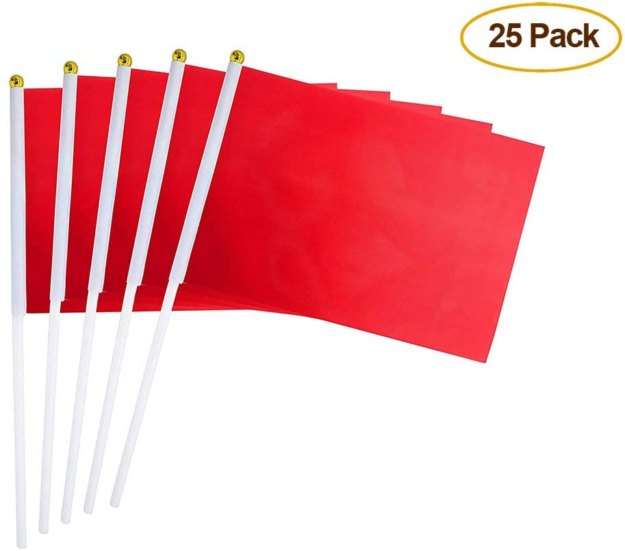 SUYEPER 25 Pack Red Flag, Pure Solid Red Flag Small Mini Plain Red DIY Flags On Stick,Party Decorations for Parades Supplies,School,Sports Club,Festival Celebration,Kids Birthday,Party Celebration