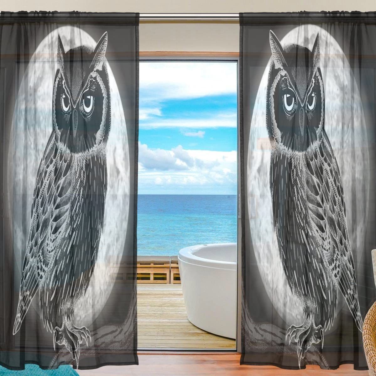 SEULIFE Window Sheer Curtain Halloween Owl Animal Moon Voile Curtain Drapes for Door Kitchen Living Room Bedroom 55x84 inches 2 Panels
