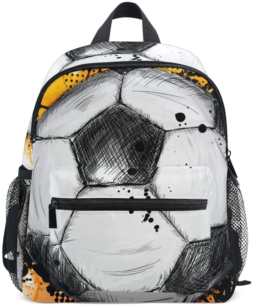 Cute Hand Drawn Soccer Ball Or Football Toddler Bag,Non-slip and Detachable Chest Clip Travel Bag Snack diapers Bag Preschool Backpack for Kids Little Boy Girls