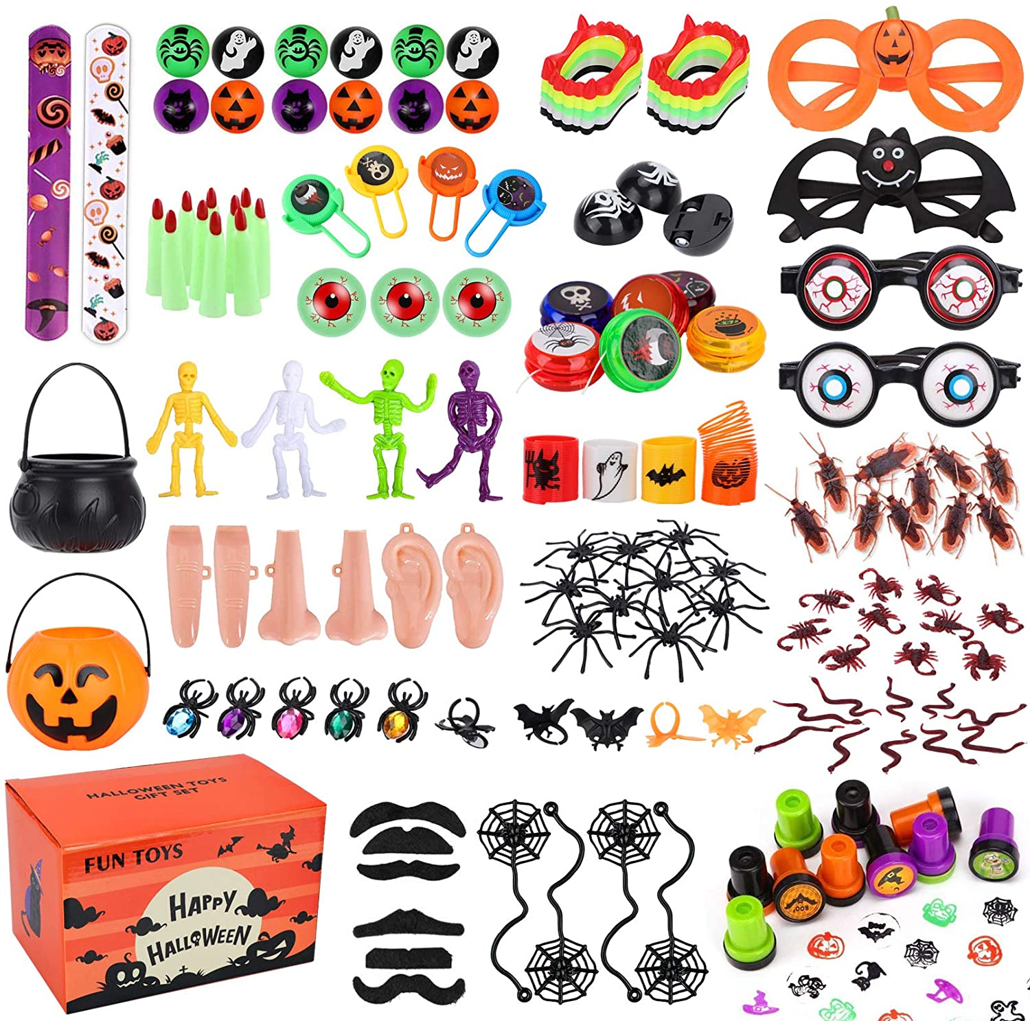 Morfone 140 Pieces Halloween Toys Party Favors Novelty Assortment Gift Set for Goodie Bag Fillers Trick or Treat bags School Rewards Class Prizes