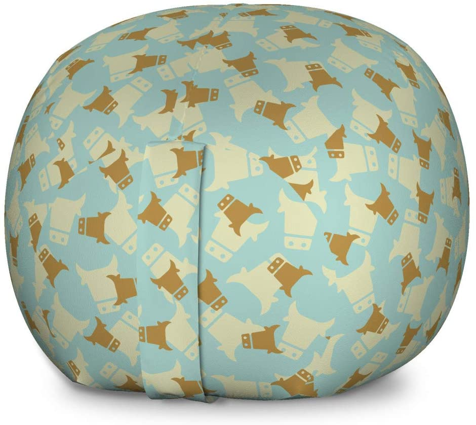 Ambesonne Cattle Storage Toy Bag Chair, Domestic Livestock Themed Pattern with Silhouette Cow Heads, Stuffed Animal Organizer Washable Bag for Kids, Large Size, Baby Blue Eggshell