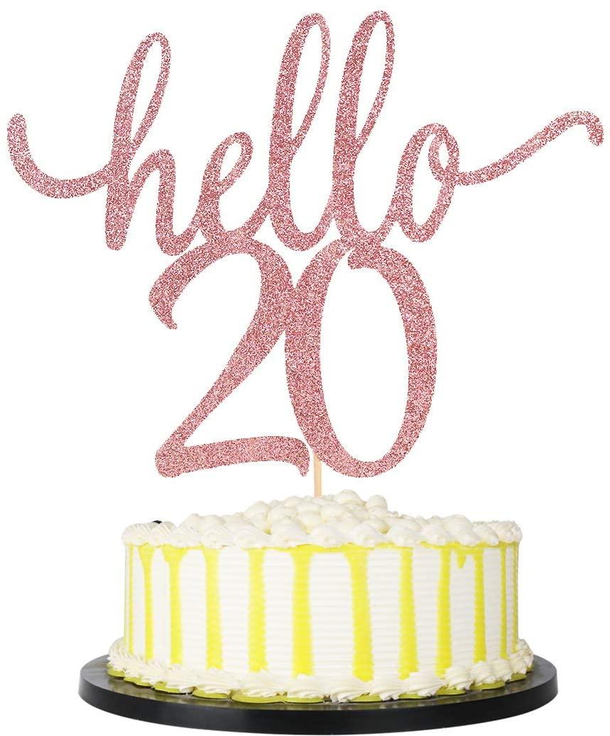 palasasa Rose Gold Hello 20 Cake Topper - 20Anniversary Party Cake Decor/Wedding Party Decoration/ Birthday Cake Topper (20)