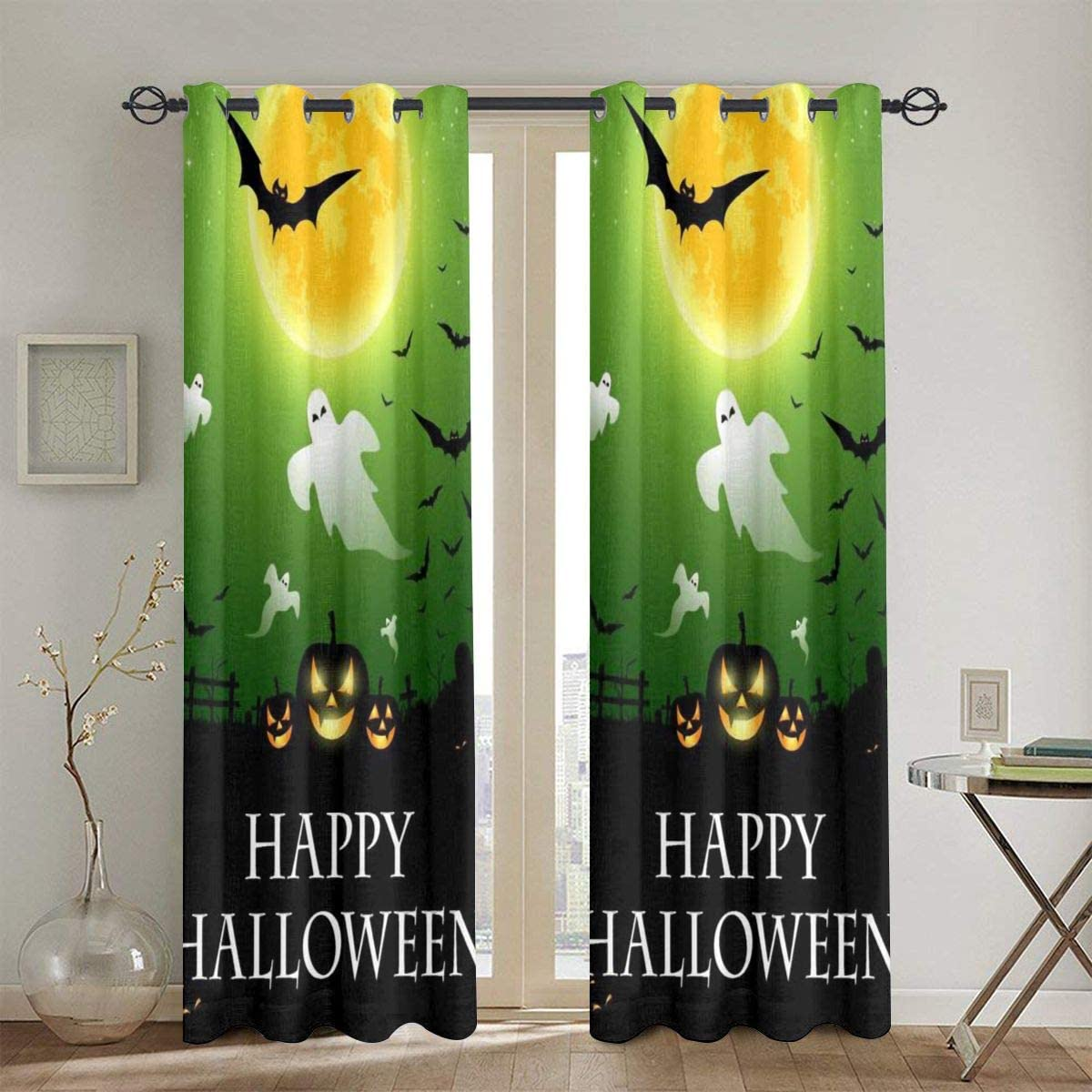 Xianlixiu Window Curtain Drapes Panels Scary Night Halloween Thermal Insulated Blackout Curtains 2 Panels for Living Room Bedroom Dining Room 52 X 84 Inch