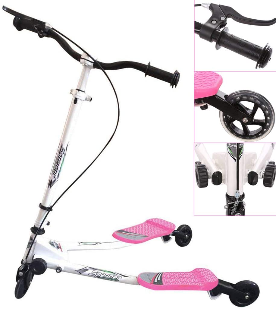Y Flicker Scooter, Swing Wiggle Scooter, Adjustable 3 Wheels Foldable Driving Push Drifter for Kids Age 5 Years Old and Up