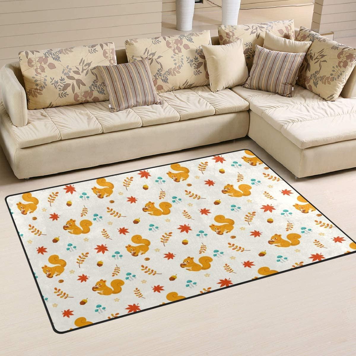 ALAZA Autumn Area Rug,Cute Squirrel Floor Rug Non-Slip Doormat for Living Dining Dorm Room Bedroom Decor 31x20 Inch