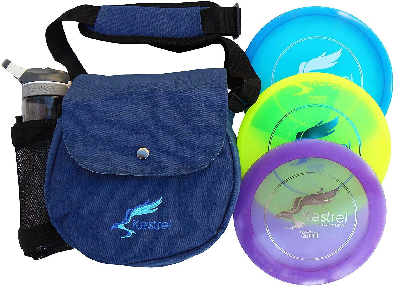 Kestrel Discs Golf Pro Set | 3 Disc Pro Pack Bundle and Small Bag | Disc Golf Set | Includes Distance Driver, Mid-Range and Putter | Small Disc Golf Bag