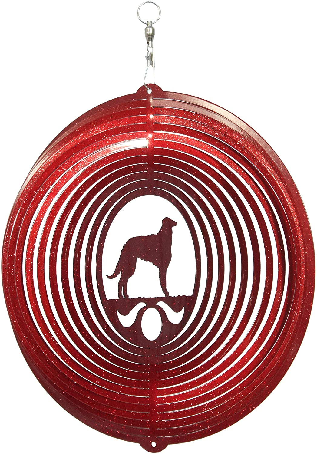 SWEN Products Borzoi Circle Swirly Metal Wind Spinner