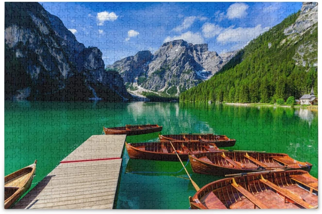 Oreayn Braies Lake Jigsaw Puzzles for Kids Adults 500 Pieces Romantic Place with Typical Wooden Boats on Alpine Lake Fun Challenge Game Colorful