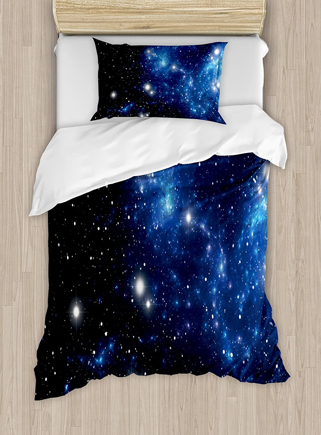 Ambesonne Constellation Duvet Cover Set, Outer Space Star Nebula Astral Cluster Astronomy Theme Galaxy Mystery, Decorative 2 Piece Bedding Set with 1 Pillow Sham, Twin Size, Blue Black