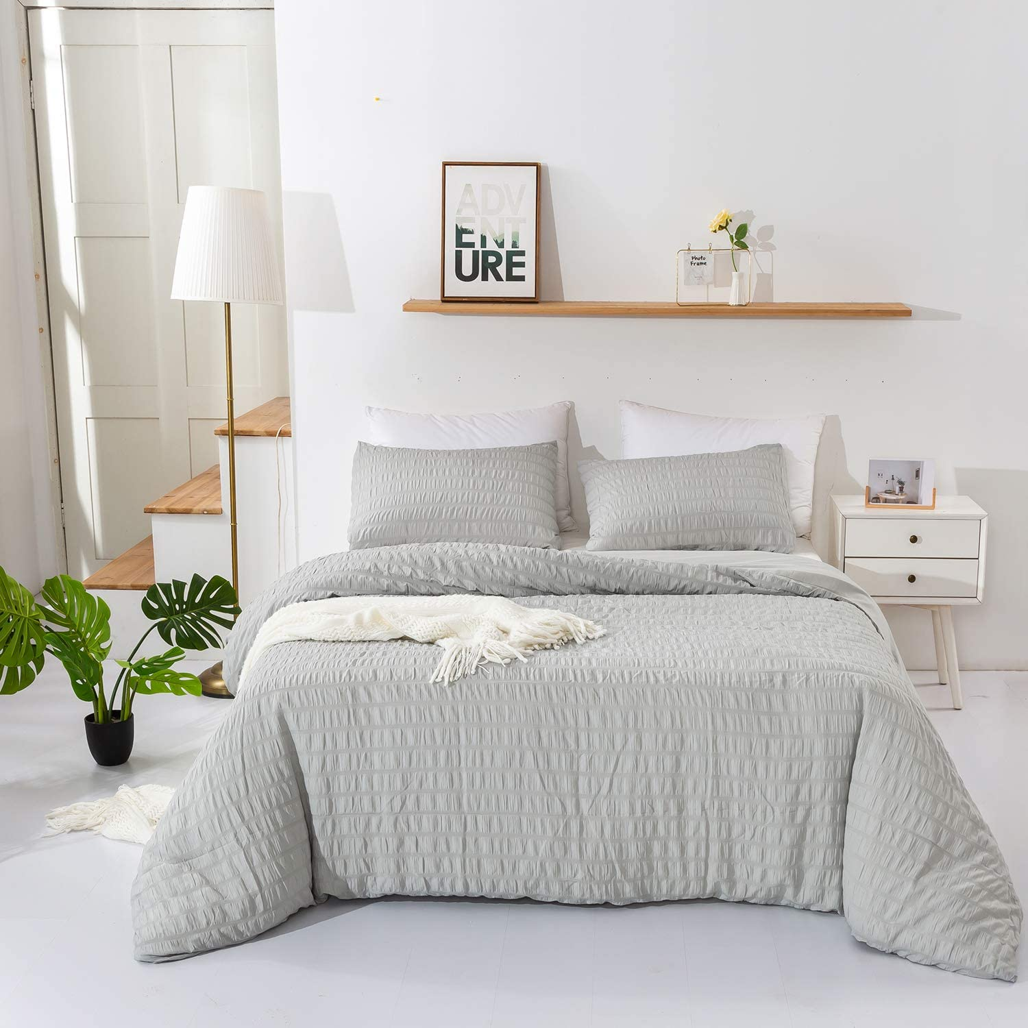 Wellboo Grey Seersucker Duvet Cover Plain Grey Bedding Sets Cover Solid Color Women Girl Adult Bedding Queen Microfiber Durable Duvet Cover Lightweight Breathable Health with 2 Pillowcases No Insert