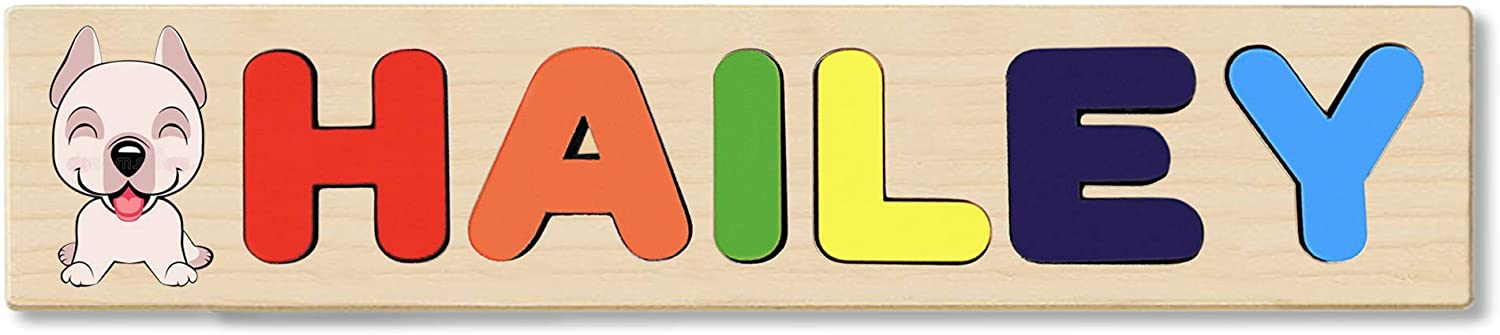 Wooden Name Puzzle Personalized, Gift for Baby or Toddler, Handmade in The USA. Animal On Train Birthday Theme