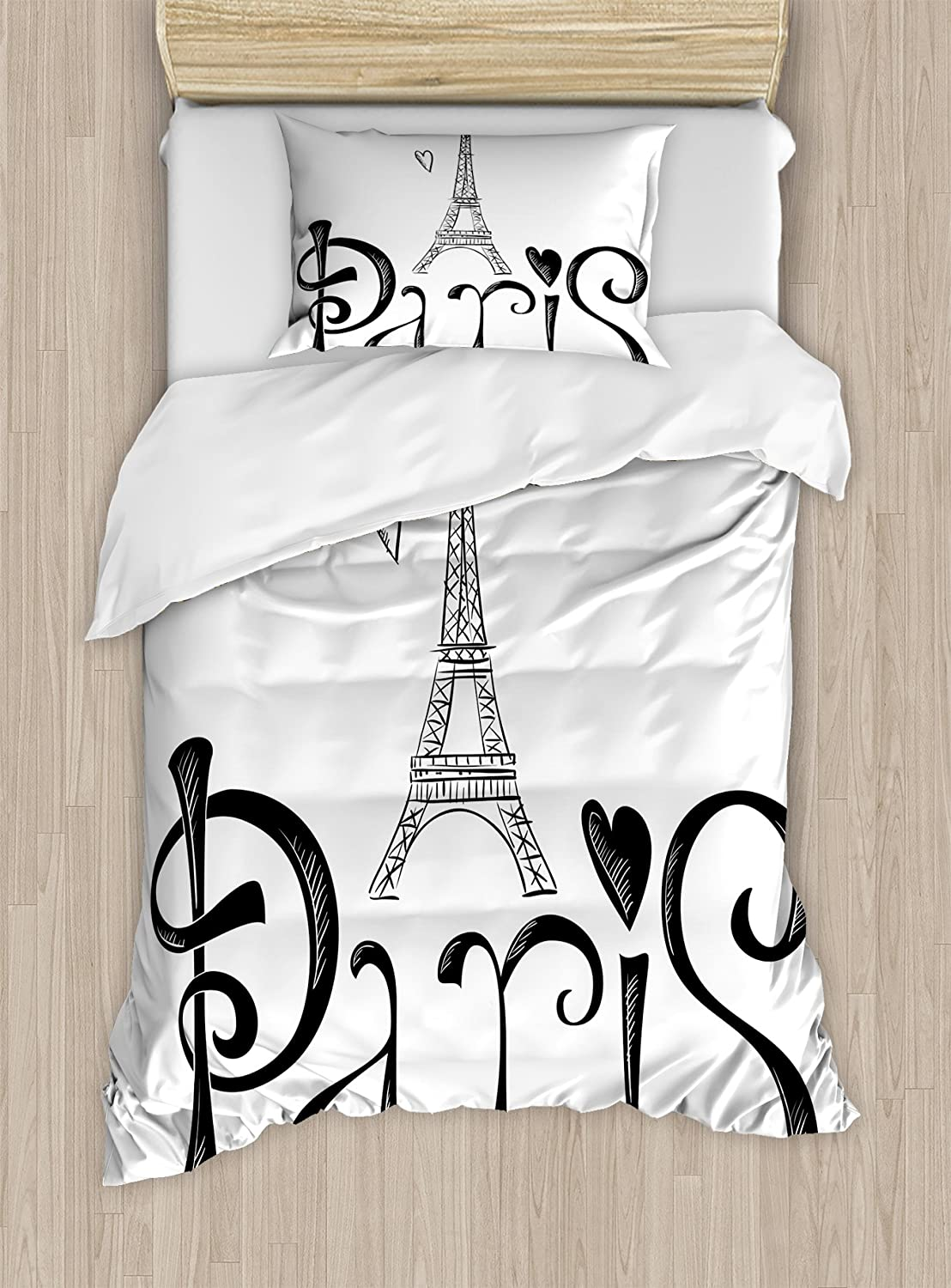 Ambesonne Paris Duvet Cover Set, Illustration with Eiffel Tower France Heart Shapes Silhouette Vacation Theme Art, Decorative 2 Piece Bedding Set with 1 Pillow Sham, Twin Size, Black and White
