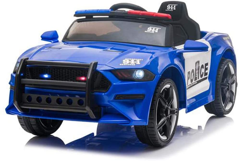 12V Kids Ride On Car Truck , Police Sports Car w/ 2.4GHZ Remote Control, Slow Start Device, 3 Speed, LED Headlights, Siren, Ages 3-5