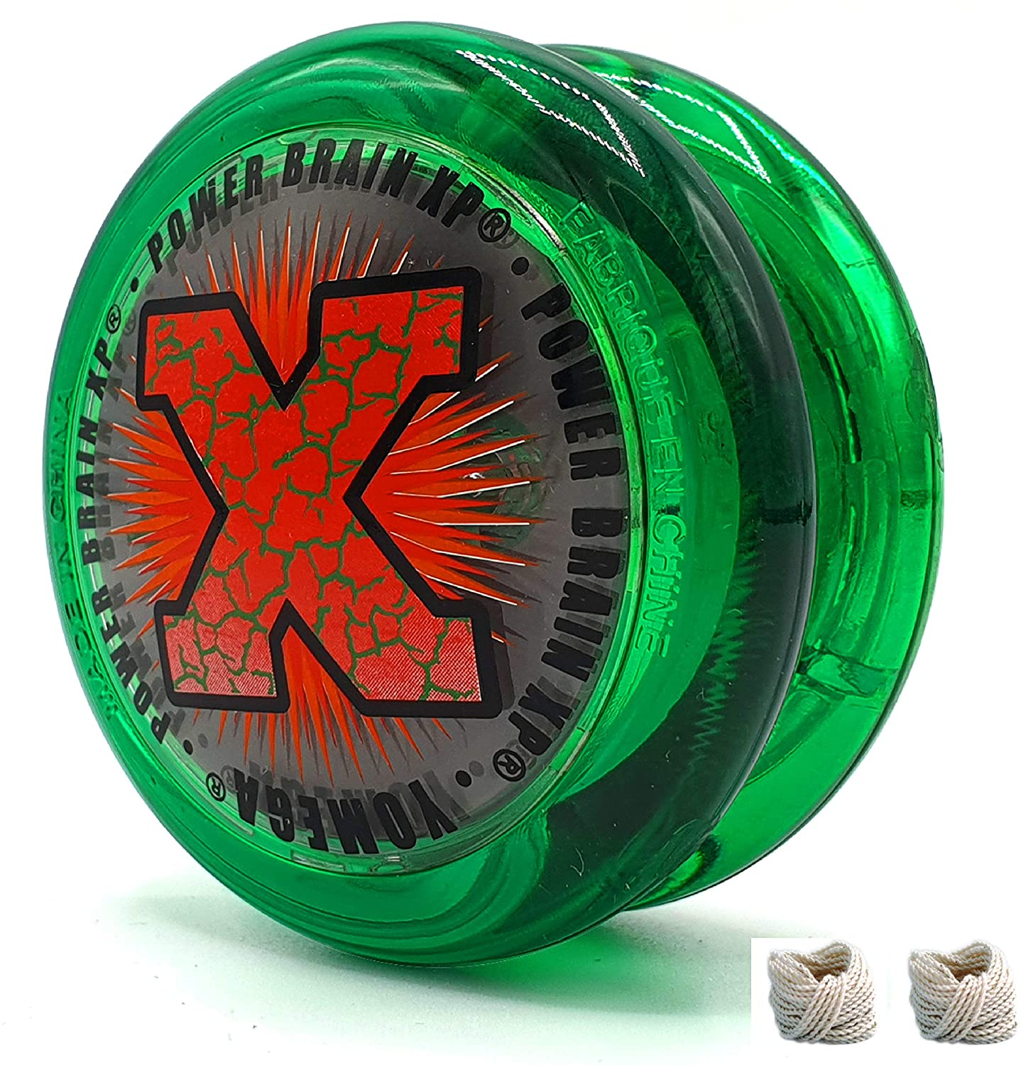 Yomega Power Brain XP yoyo - Includes Synchronized Clutch and a Smart Switch which enables Players to Choose Between auto-Return and Manual Styles of Play + Extra 2 Strings (Green)