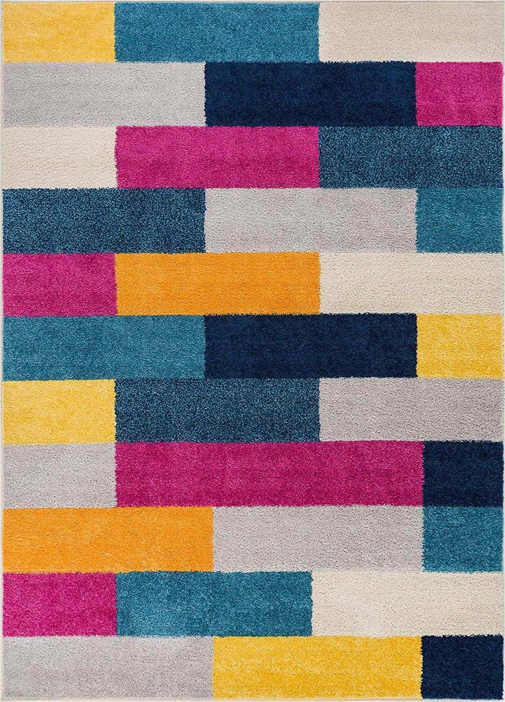 HOMEWAY Pattern Rugs - Bricks Modern Area Rug Multicolor 7'10